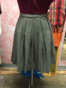 387207ca56 Image is loading Vintage-60-039-s-Gray-Wool-Pleated-Skirt-