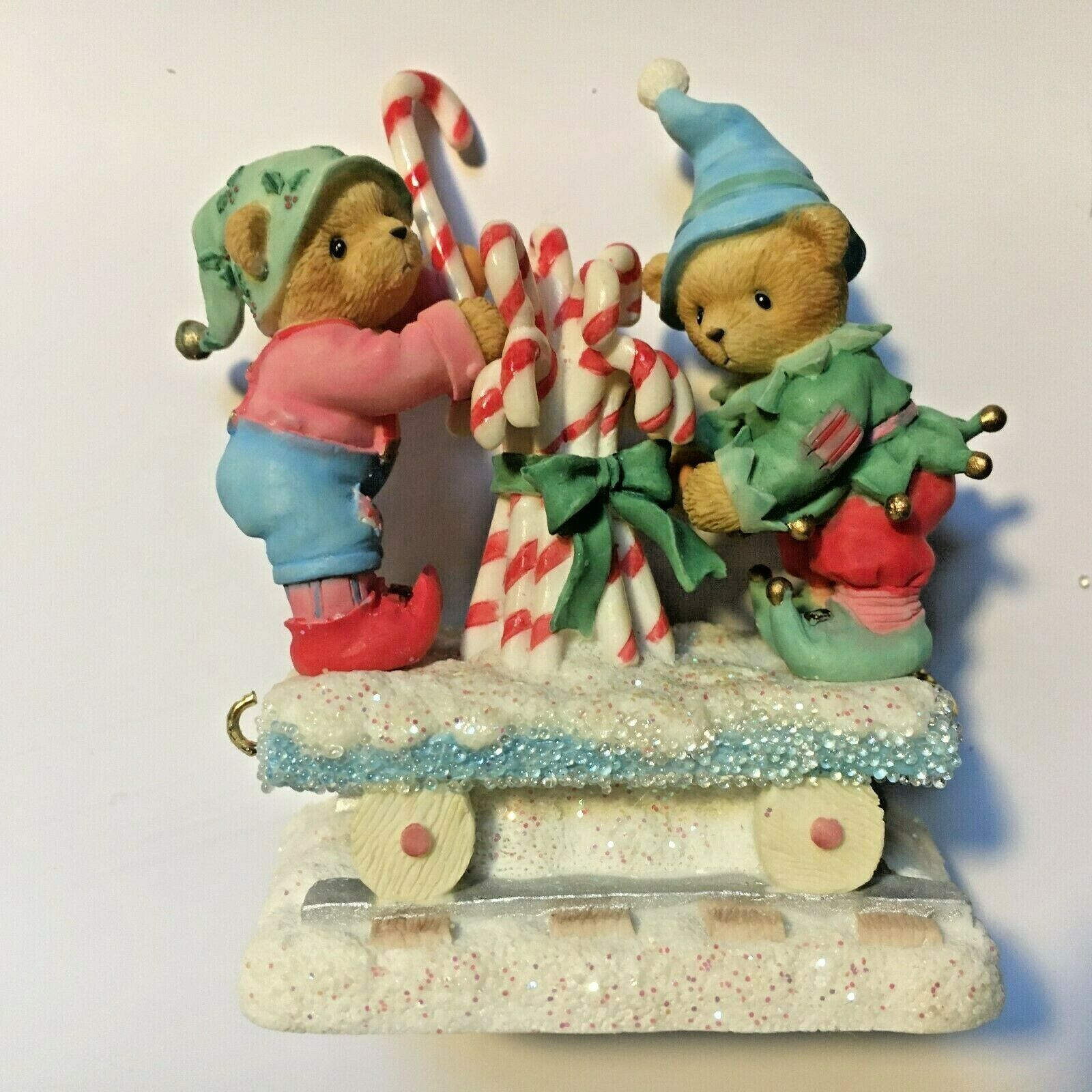 Ultra Rare Cherished Teddies Christmas Train Car Candy Canes Hamilton Exclusive//