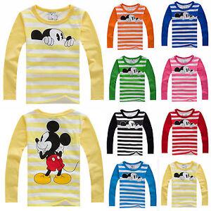 Kids-Baby-Boys-Girls-Cotton-T-shirt-Tops-Long-Sleeve-Cartoon-Tee-Shirt-Clothes