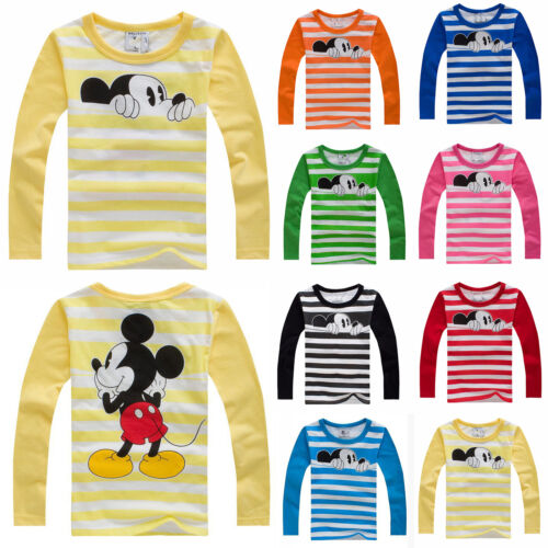Kids Toddler Boys Girls Mickey Striped T-Shirt Long Sleeve Tops Casual Tee Shirt