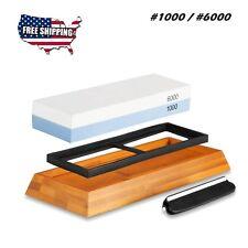Double Sided Whetstone Knife Sharpening Bamboo Base Water Stone 1000 6000 Grit