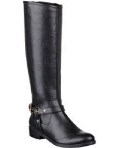 Tommy Hilfiger Black Dorian Wide Calf Leather Riding Boot w/Stretch Panel - 129