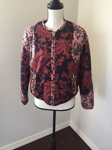 NWT-H-amp-M-Paisley-Quilted-Bomber-Jacket-Size-10
