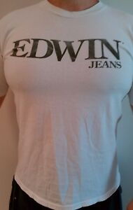 Vintage-Edwin-Jeans-Men-039-s-White-T-Shirt-Used