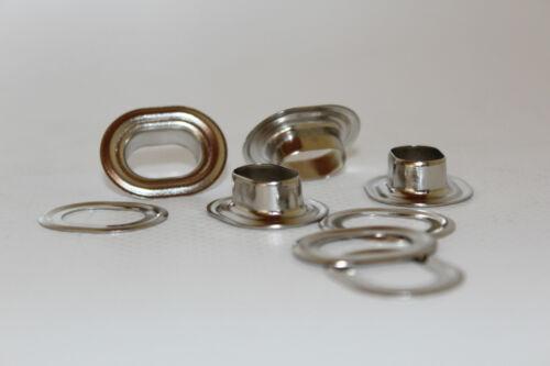5 x ojales oval 17 x 11 mm de latón revestido de níquel ovalöse MV ojales para camiones-plane