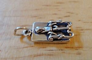 Sterling Silver 20x9mm 3D solide Rawhide Dog Bone Charme!