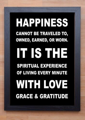 HAPPINESS PRINT STUNNING FRAMED LIFE INSPIRATIONAL QUOTE POSTER
