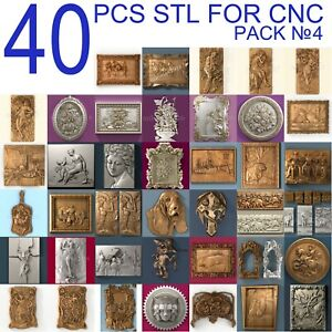 40 pcs set #4 3d stl models  for CNC Router Artcam Aspire