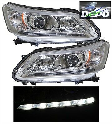 Halogen Headlights headlamps NEW Pair Set for 13-14 Honda Accord Sedan