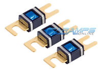 Xscorpion 300 Amp 3 Pack Gold Plated Mini Anl (afs/midi) Wafer Fuses W Led Light