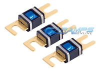 Xscorpion 300 Amp 3 Pack Gold Plated Mini Anl (afs/midi) Wafer Fuses W Led Light on sale