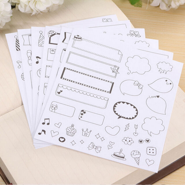 12 Sheets Diary Decor Stickers Decoration Labels Scrapbook Journal Fashion R