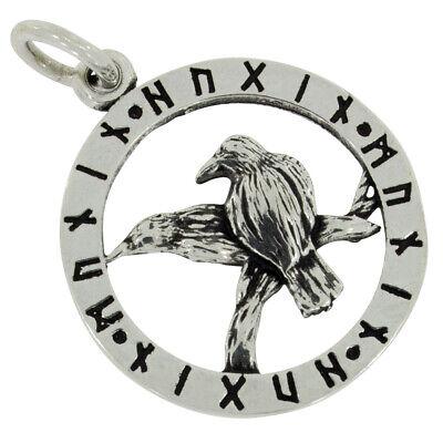 Raben Odin Runen Anhänger Silber 925 Hugin Munin Wikinger