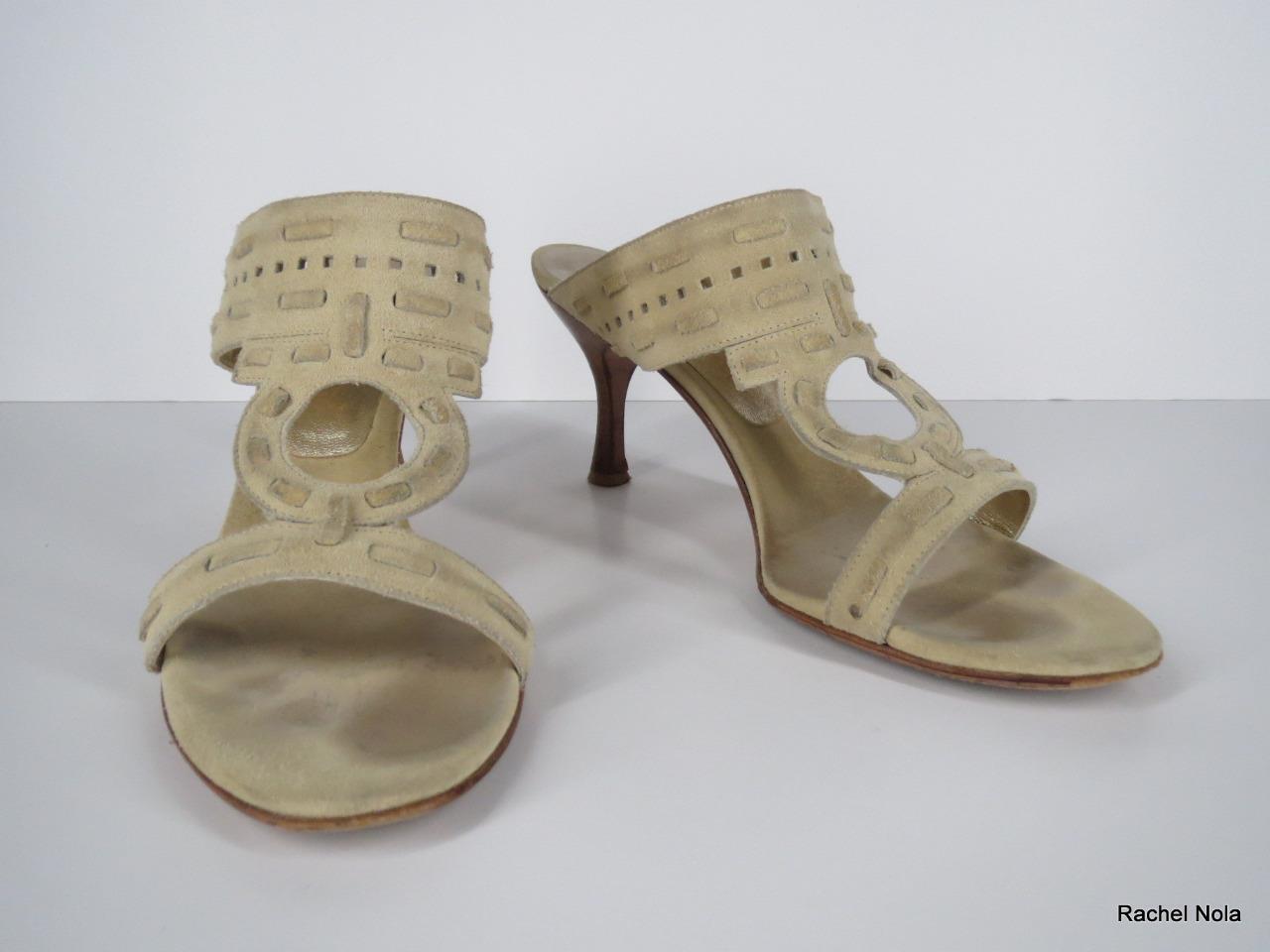 FERRAGAMO Tan Suede Open Toe T-Strap Tribal Keyhole Slides Heels Sandale 8.5 B