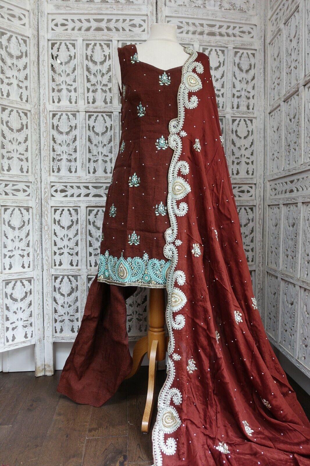 rown embellished Indian salwar kameez UK Size 12 / EU 40 – preloved - SKU16526
