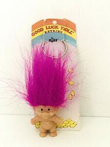 TROLL-KEY-CHAIN-2-034-Russ-Troll-Doll-NEW-ON-CARD-Fuschia-Magenta-Hair