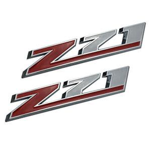 2x 10 Inch Z71 Emblems Badges Stickers for Silverado Chevy GMC Sierra Chrome Red