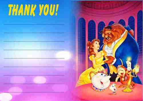 Pack of 10 Beauty and the Beast Thank You Notes With Envelopes /& Banner Offer