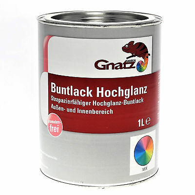 (14,99 €/l) 1 L - Gnatz Buntlack Ral 6027 LichtgrÜn - Hochglanz