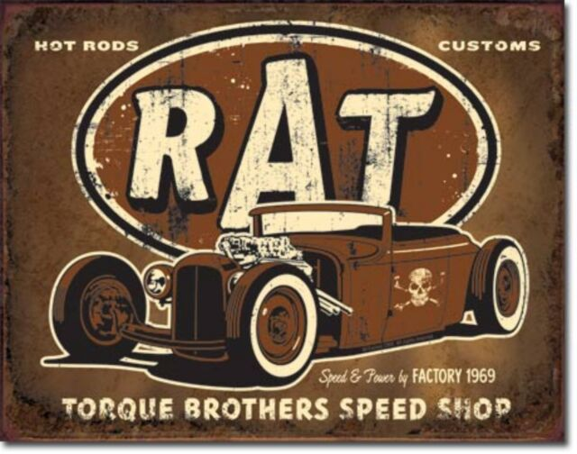 Rat Rod Torque Brothers Speed Shop Metal Sign Tin New Vintage Style USA #1783