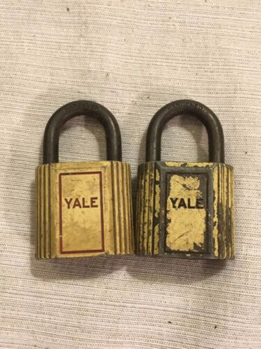 2 Vintage Yale Yellow Metal Padlock Lock MISSING KEY Made in the USA
