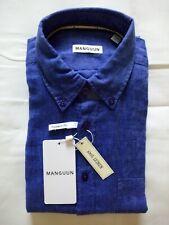 L Leinen 55/% BW 45/% weich Kragen kurzarm blau NEU Globetrotter Herren Hemd Gr.M