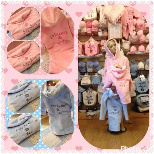 6 12 18 24 2 3 4 5 6 PERSONALISED dressing  gown robe PINK BLUE prince princess