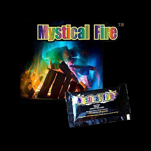 100x Mystical Fire Powder Sachets - Bright Colour in your wood fire pit BBQ