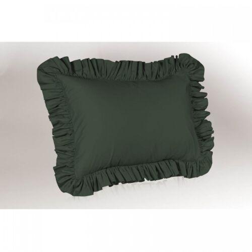 Home & Garden Set of 2 Edge Ruffle Pillow Sham Solid White n Black ...