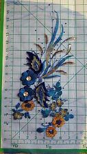 Embroidered 3D Applique Floral Sequin Ballet Sew-On Patch Gold-Blue