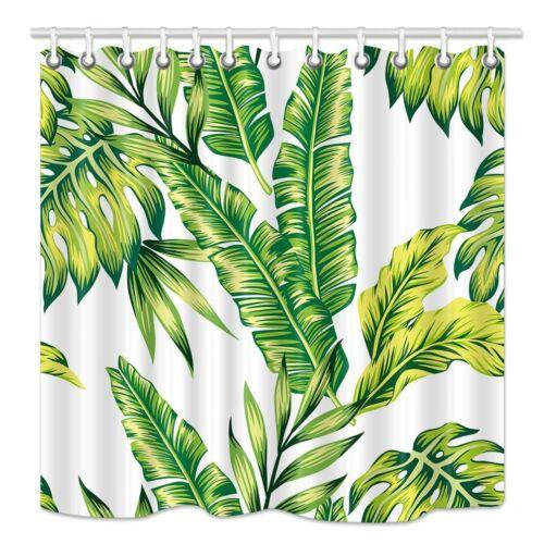 "Watercolor Banana Leaves Fabric Shower Curtain Bathroom Waterproof /&12 Hooks 71/"""