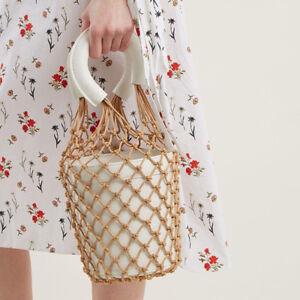 Da-Donna-Pesce-Netto-Bucket-Bag-Clutch-Bags-intreccio-paglia-Borse-Sacchi-Da-Spiaggia-Vaso-da-fiori