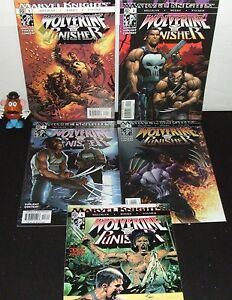 WOLVERINE-amp-PUNISHER-MARVEL-KNIGHTS-2004-MINI-SERIES-SET-1-5-PETER-MILLIGAN-NM