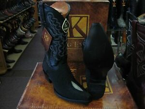 King Cowboy Genuine Stingray Boot Black Toe Ee 941205 Snip Western Exotic rxBoeCd