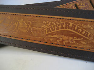 UNIQUE-BROWN-LEATHER-AUSTRALIANA-EMBOSS-GUITAR-BASS-STRAP