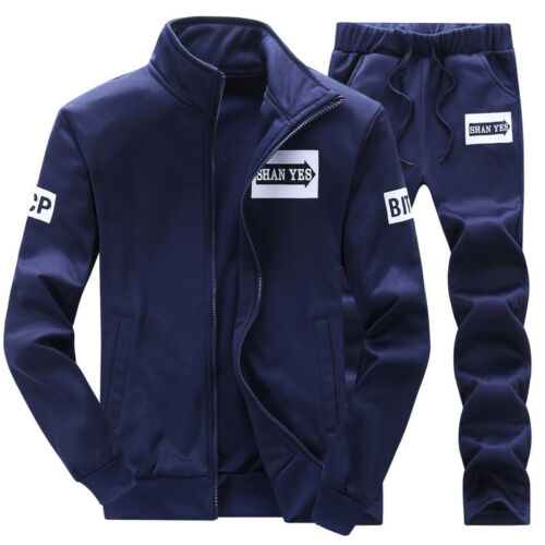 UK Men/'s Tracksuit Sports Suit Set Outwear Sweat Hoodies Long Pants Size M-4XL