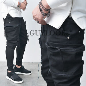 d7c429ee5a1842 Double Zip Big Cargo Pocket Mens Black Slim Baggy Jogger Sweat Pants ...