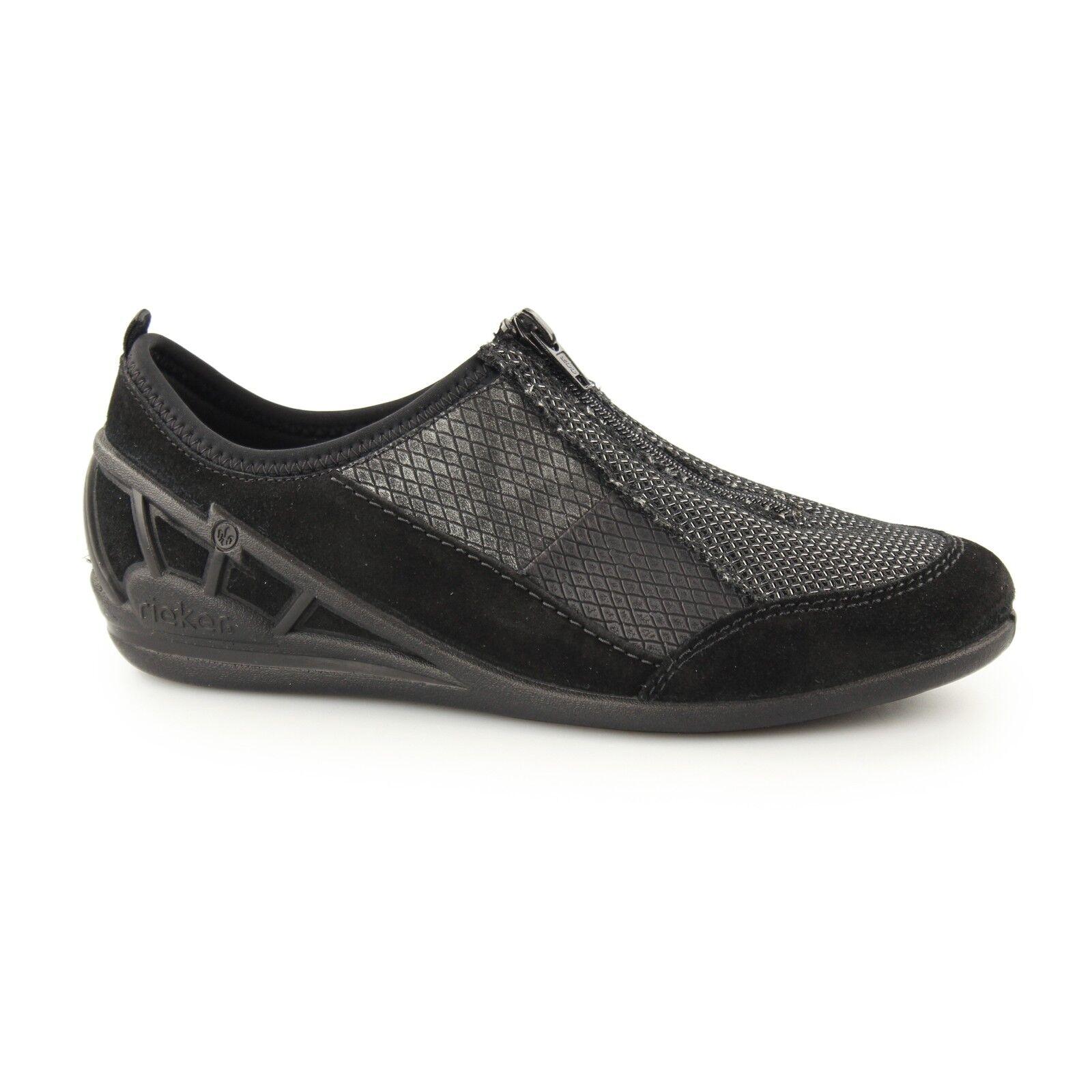 Rieker 59562-00 Ladies Womens Casual Comfort Zip Padded Sporty shoes Black