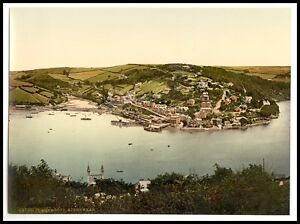 2-Victorian-Views-Dartmouth-Castle-Kingswear-Mouth-of-Dart-River-Old-Photos-New