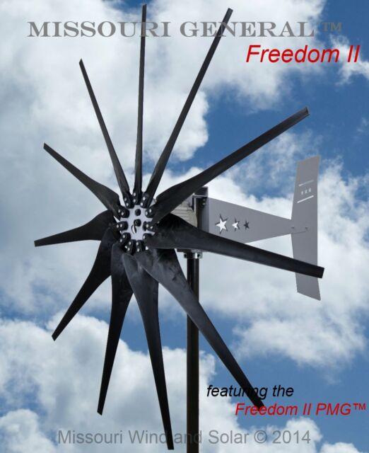 Missouri General Freedom II 24/48V 2000 watt max 11 blade turbine Bare Steel
