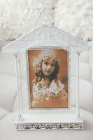 White Vintage Church House Wedding Metal Picture Frame Photo Favors 10.75