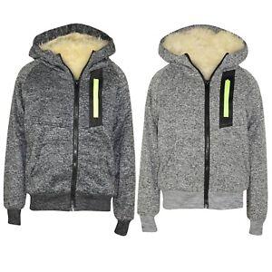 Boys-Kids-Neon-Zip-Full-Inside-Fur-Fleece-Bomber-Hooded-Jacket-Coat-Hoodie-Sweat
