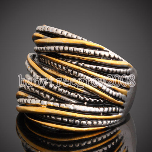 18K White Gold GP Yellow & Silver Plated Spacing Cocktail Ring 289