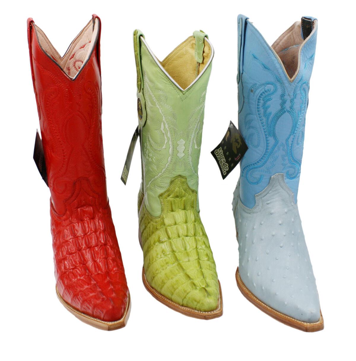 Men Genuine Leather Cowboy Western Crocodile Ostrich Print Quality Boots colors
