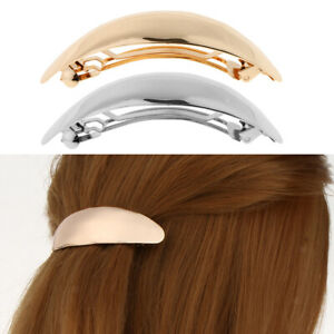 Shiny-Gold-Silver-Curved-Oval-French-Barrette-Clasp-for-Thick-Hair