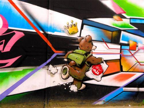 ART PRINT POSTER PHOTO GRAFFITI MURAL STREET RUNNING BEAR NOFL0315