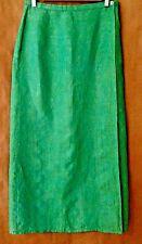 Escada Emerald Green 100% Linen Wraparound Long Skirt US 8 IT42 Cool & Breezy