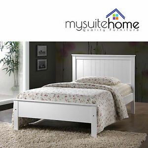 Rojo Solid Rubberwood Simple Single King Single Size Bed Frame With
