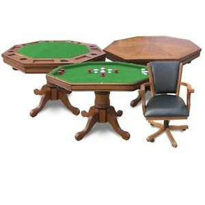 dining kingston antique dark oak felt table poker chip billiards pool