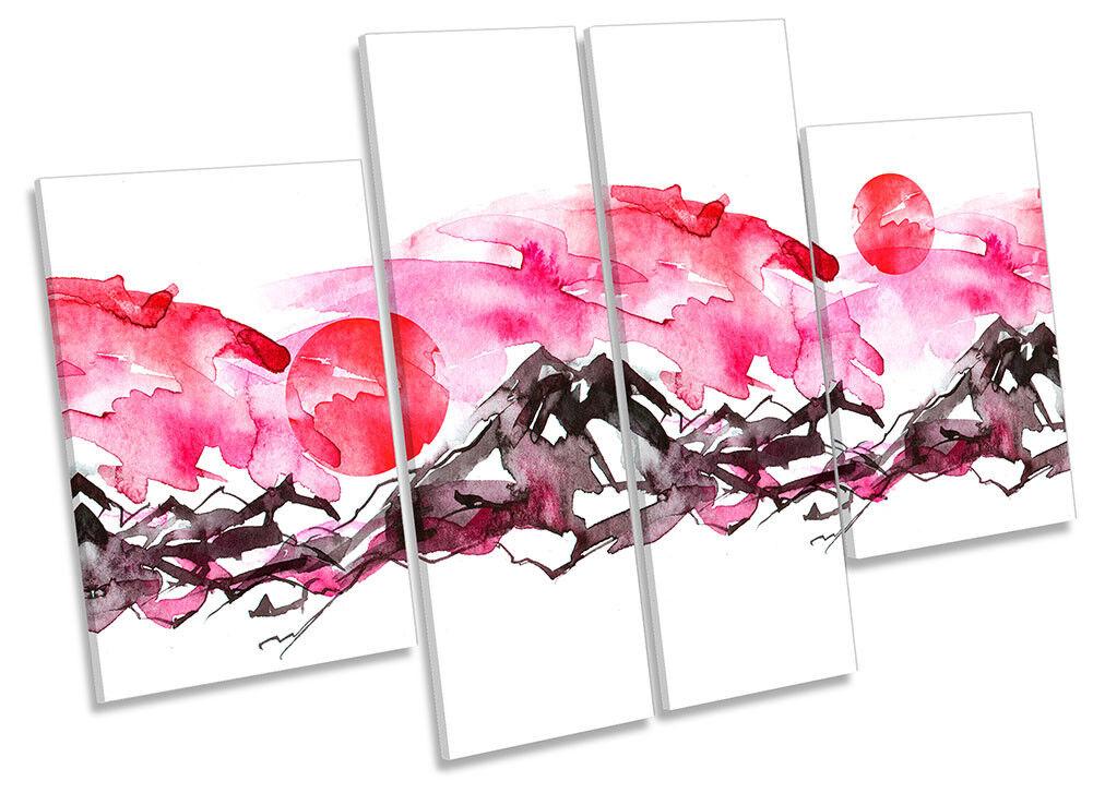 Rosa Impresión Lienzo Enmarcado abstracta montaña montaña abstracta REPRO cuatro Panel Pared Arte 865a8e
